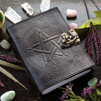 Celtic Pentacle Blank Book, Black Leather 220 pages