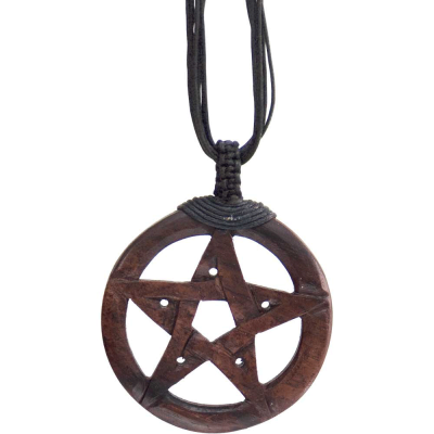 Pentacle Wood Necklace