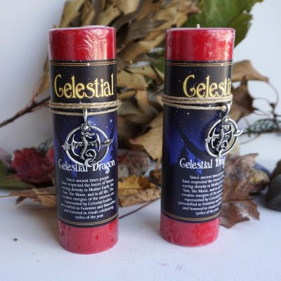Celestial Dragon Moon Candle with Pendant