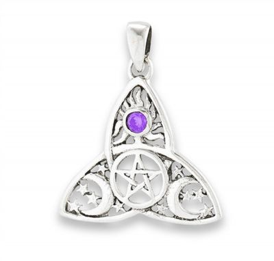 Triquetra Pentacle Pendant with Amethyst