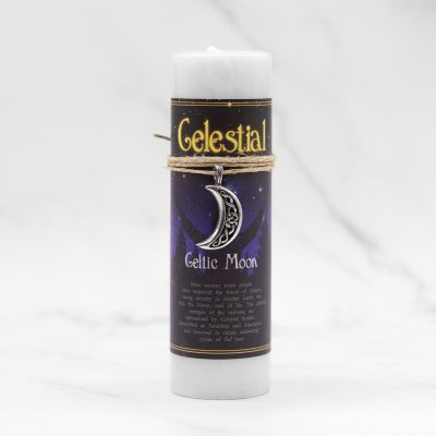 Celestial Celtic Moon Candle with Pendant