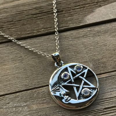 Crescent Moon Pentacle Pendant - Rainbow Moonstone
