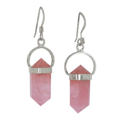 Rose Quartz Point Earrings