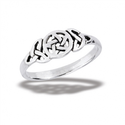 Silver Pentagram with Celtic Triquetra Ring