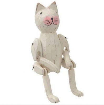 Small Jointed Wooden Cat