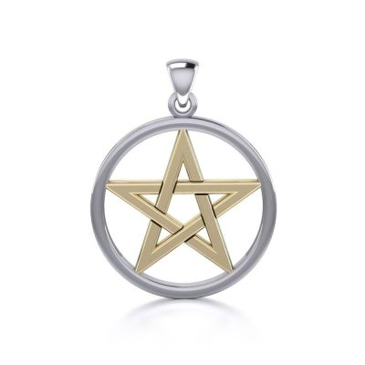 Pentacle Pendant, Gold, Silver