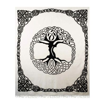 Black, White Tree of Life Tapestry