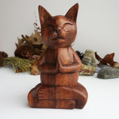 Wooden Meditation Cat