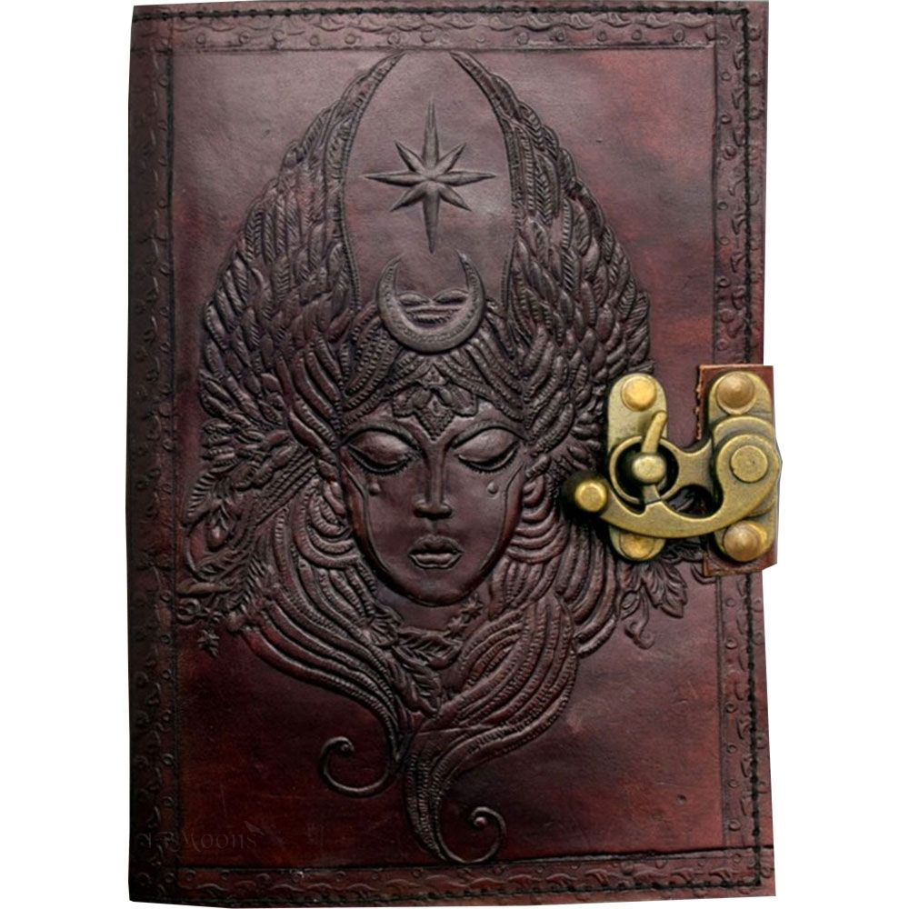 Moon Goddess Leather Blank Book