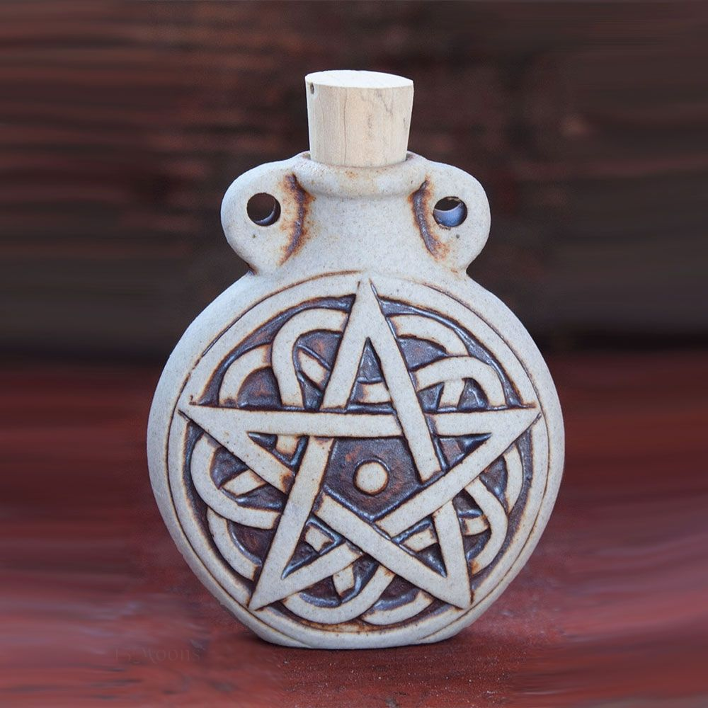 Celtic Pentacle Clay Bottle