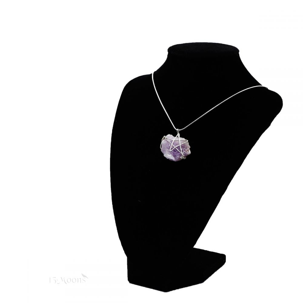 Wire-wrapped Pentacle Amethyst Necklace