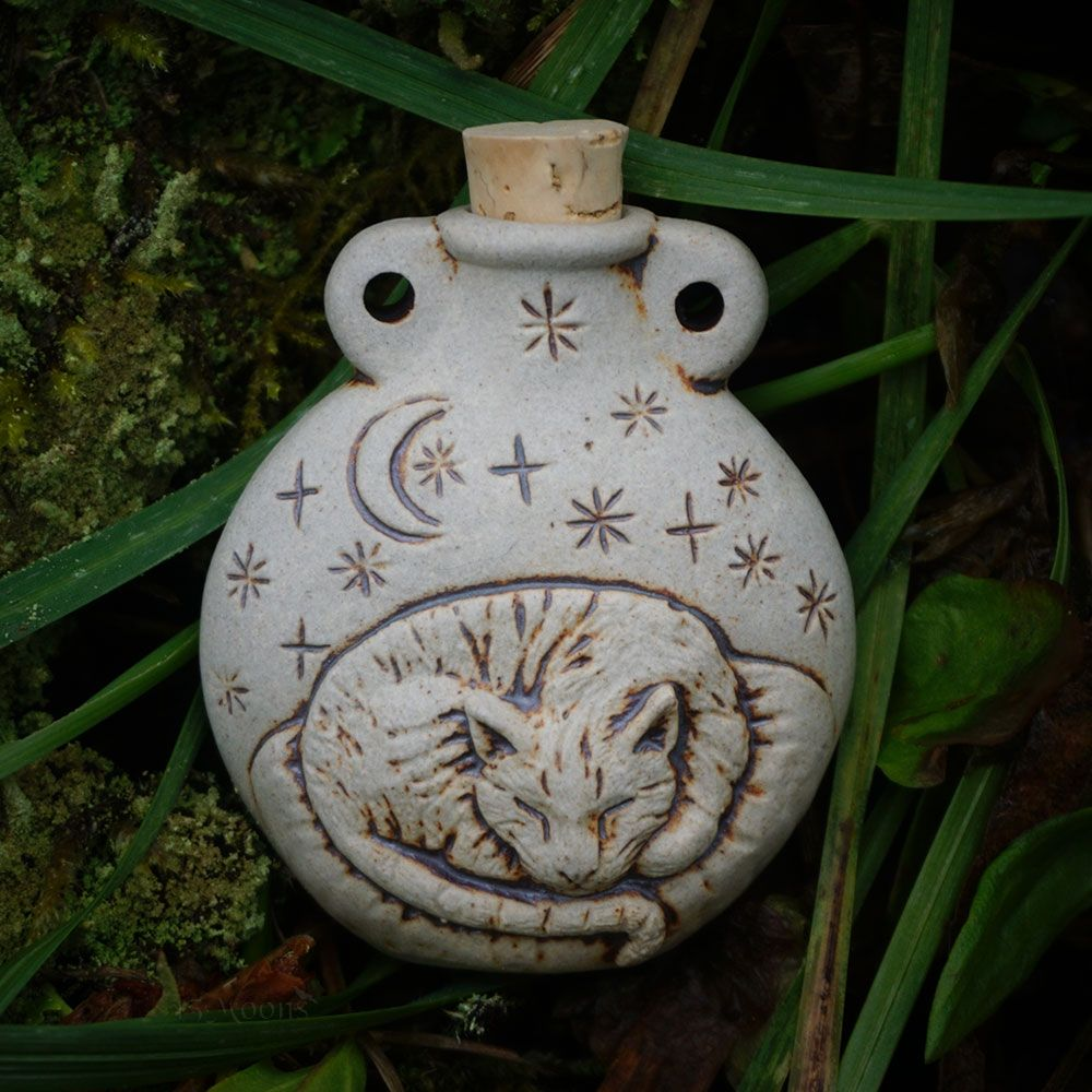 Stars and Moon Cat Clay Bottle