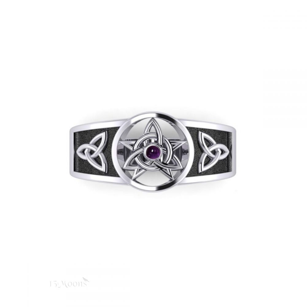 Celtic Pentacle Ring with Amethyst