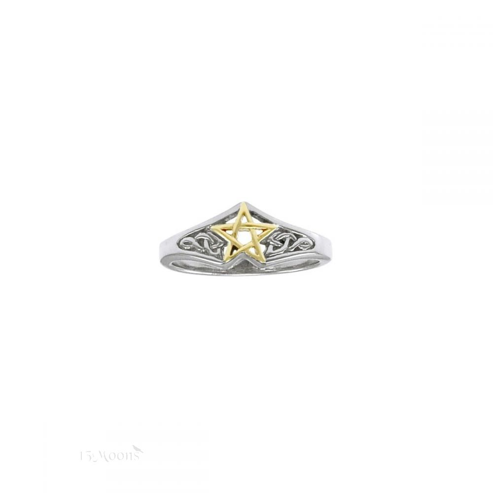Celtic Pentacle Ring in Gold and Silver