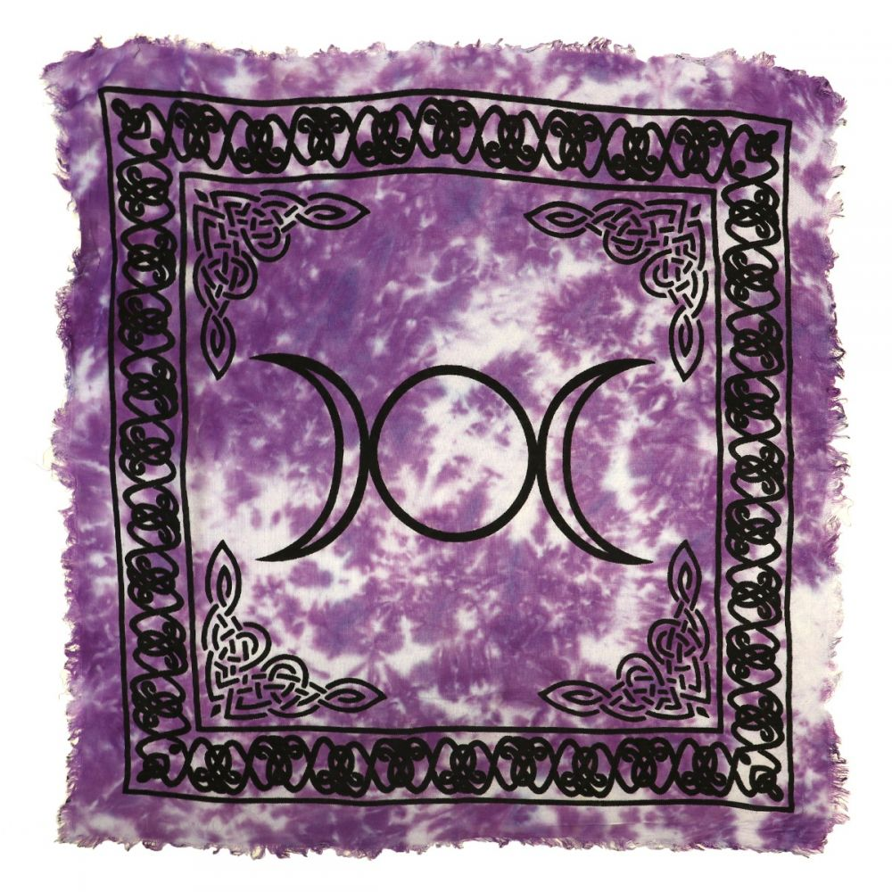 Triple Moon Altar Cloth, 18 inch Purple