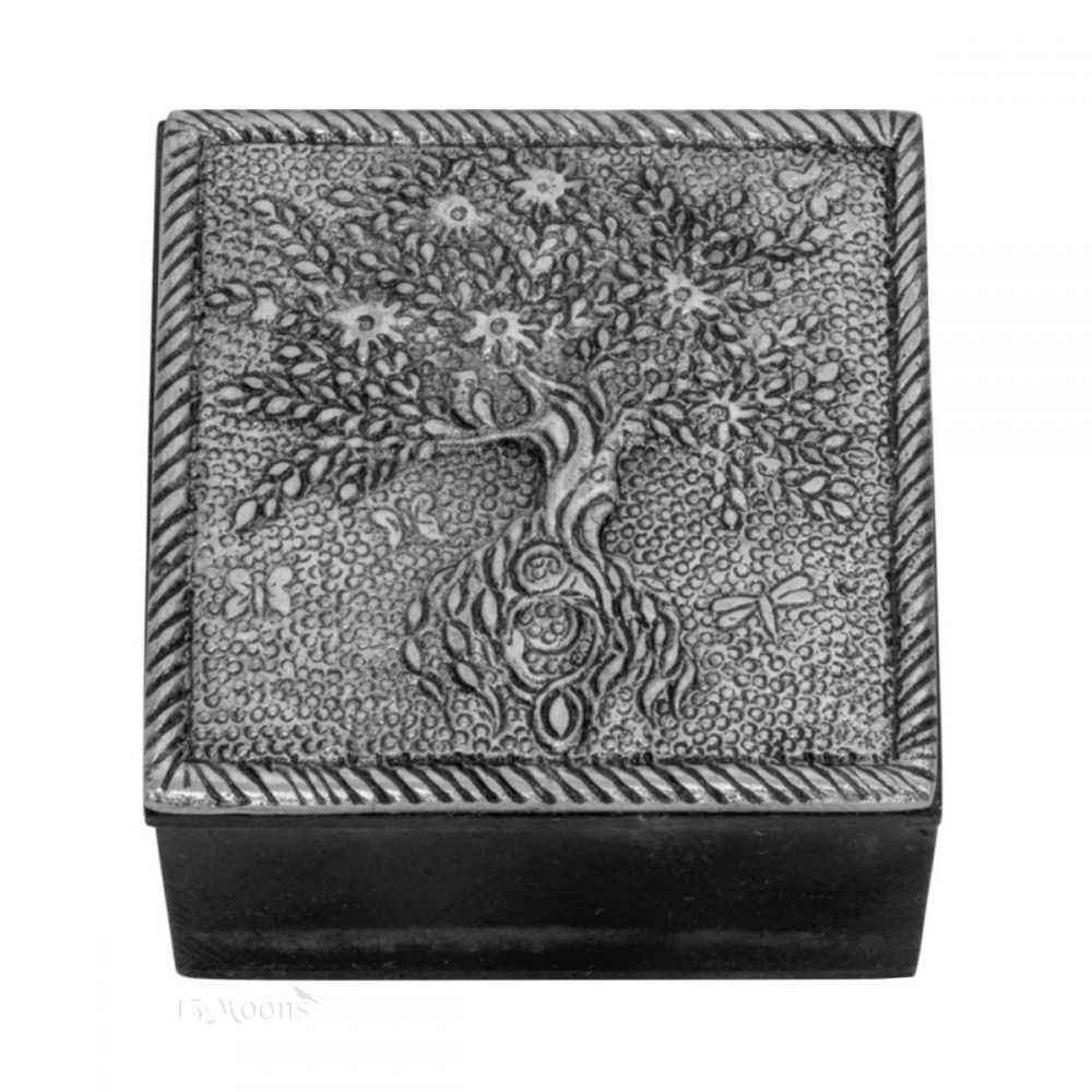 Tree of Life Wood and Pewter Trinket Box