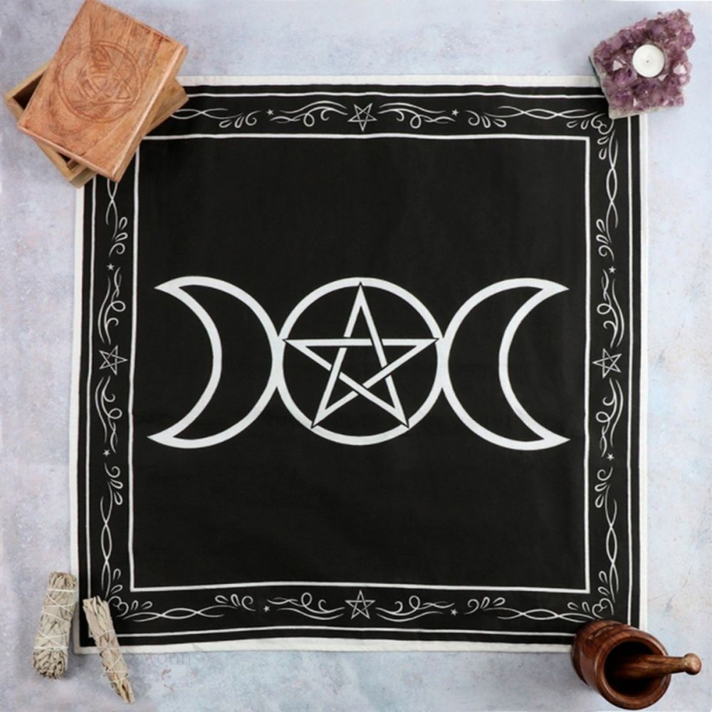 Triple Moon Pentacle Altar Cloth 27.5 inches