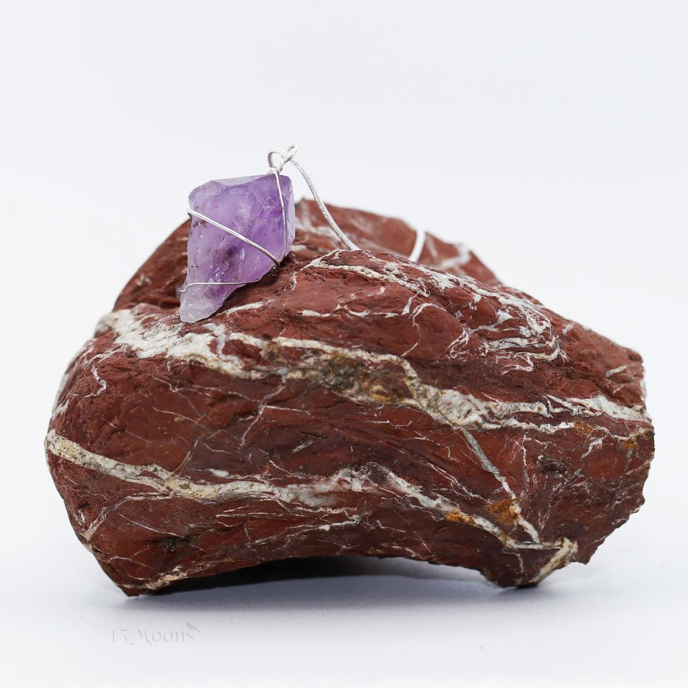 Wire-wrapped Crystal Point Amethyst Necklace